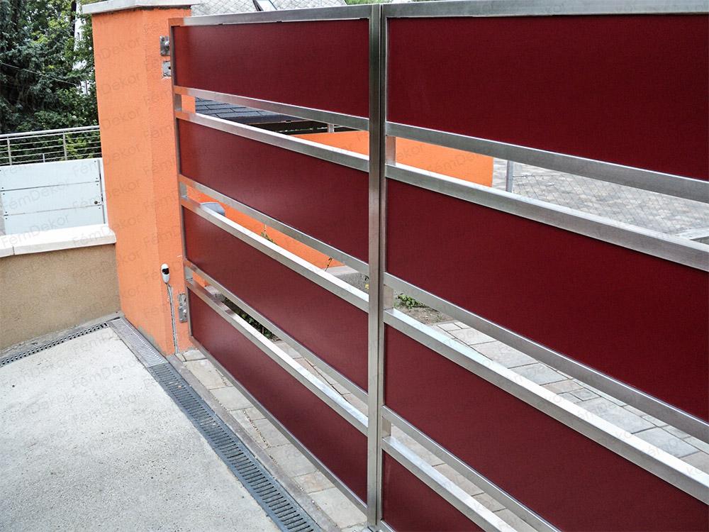 Rozsdamentes acél kapu vörös kompakt lemez borítással