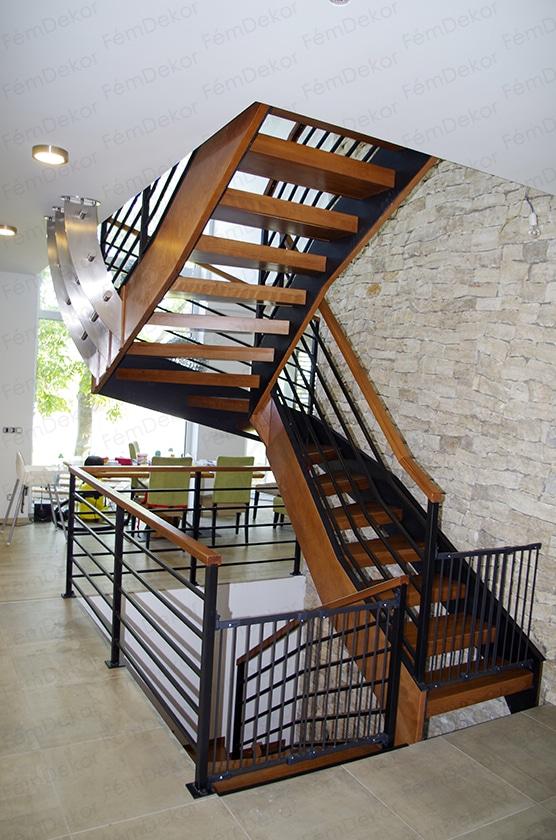 Fa-fém lépcsőszerkezet tervezéssel és kivitelezéssel